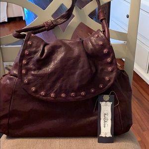 TreVero plum leather shoulder bag